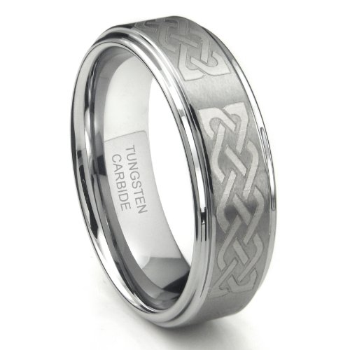 Metal Collections Tungsten Carbide 8MM Wedding Band Ring w/Laser Etched Celtic Knot Design Sz 11.0 SN#611