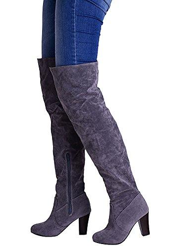 Gris Slip 976 Bloque Alta Rodilla On Odema Bootie Mujer Heel pqwZ4z