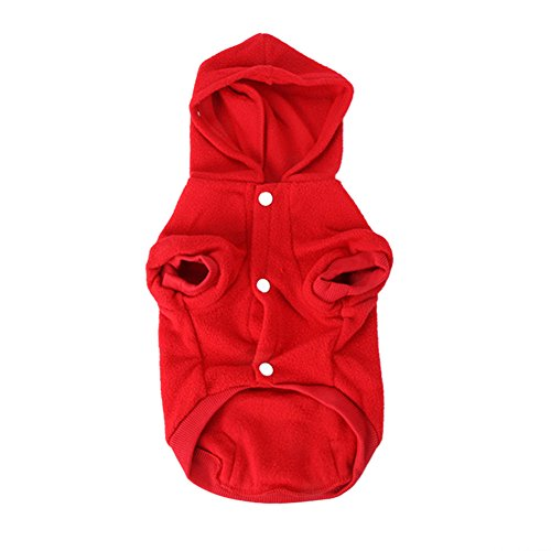 Patgoal Fleece Autumn Winter Red Dog Hoodies Vest Clothes with Pocket for Small Dogs