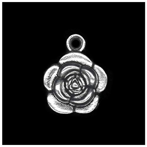Pack of 80 Strong Rose Charms Pendants Silver Craft Supplies for Jewelry Making Tibetan Accessories for Bracelets Necklace DIY
