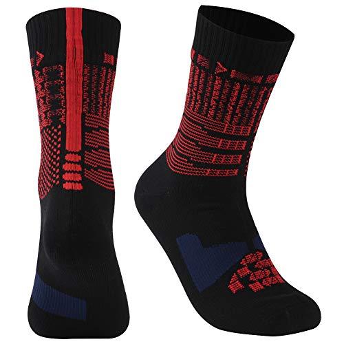 RANDY SUN Waterproof Ultimate Socks, Unisex Sport Socks & Breathable Hiking/Trekking/Skiing Socks, 1 Pair-Black-Mid Calf Socks,Medium