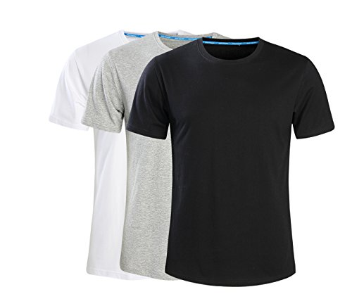 - Men's Classic Basic Solid Ultra Soft Cotton T-Shirt 3-Pack (Tag 6XL= US 5XL, Black,White,Grey)