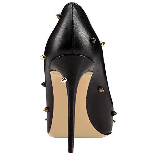 High Womens Heels Pump Toe Rivet Dress Stud Black AIWEIYi Shoes Matte 10cm On Slip Stilletto Pointed 8wAxwHRq