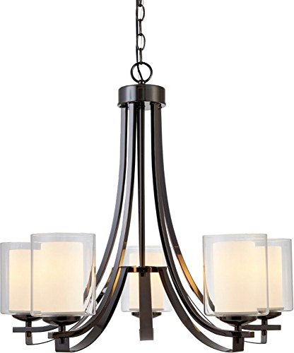 Hardware House 22-3737 El Dorado – Five Light Chandelier, Ebony Glaze Finish with Clear/White Glass