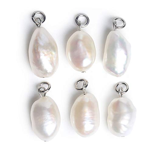 - Wholesale 6 PCS Freshwater Pearls Pendant Baroque Cultured Pearl Charms Bulk for Jewelry Making