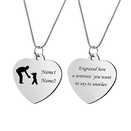 Heart Tag Necklace Pendant Keychain Personalized Engraved Family Affection Jewelry for for Mother Father Children