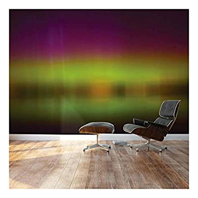 Blurred Out Purple and Green Northern Lights Reflection - Landscape - Wall Mural, Removable Sticker, Home Decor - 66x96 inches