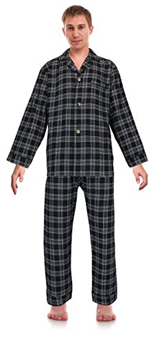 Flannel Pajamas For Men - Casual Trends Classical Sleepwear Men's 100% Cotton Flannel Pajama Set, Size Large Black