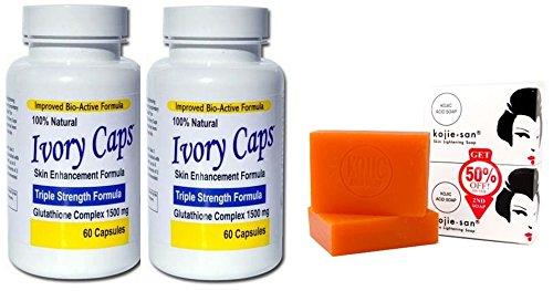Ivory Caps Skin Whitening Lightening Max Glutathione 1500mg Pills +Kojie San Skin Lightening Kojic Acid Soap 2 Bars - 65g (2 Ivory Caps + Soap)
