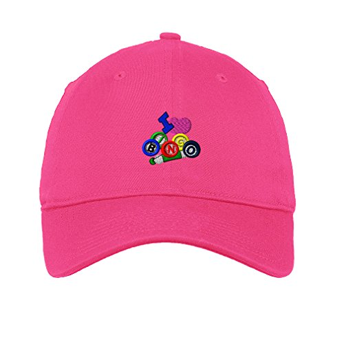 Game I Love Heart Bingo Logo Embroidery Unisex Adult Flat Solid Buckle Cotton 6 Panel Low Profile Hat Cap - Hot Pink, One Size