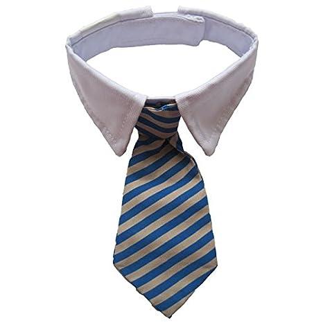 Cuello de camisa con corbata a rayas ajustable para mascotas ...