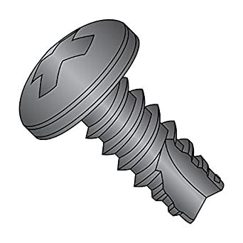 Pan Head Type 25 #4-24 Thread Size Black Zinc Plated Steel Thread Cutting Screw Pack of 100 Phillips Drive 1//2 Length