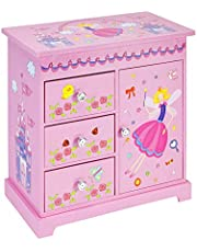 Jewelkeeper Music Box 3 Pullout Drawers, Fairy Castle Design, Waltz The Flowers Tune