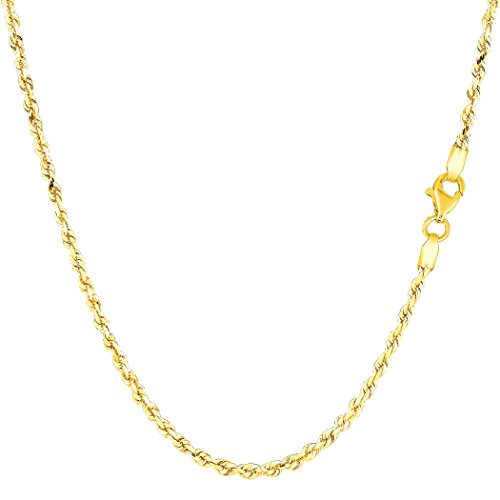 14k Yellow Gold Solid Diamond Cut Royal Rope Chain Necklace, 2.0mm, 22