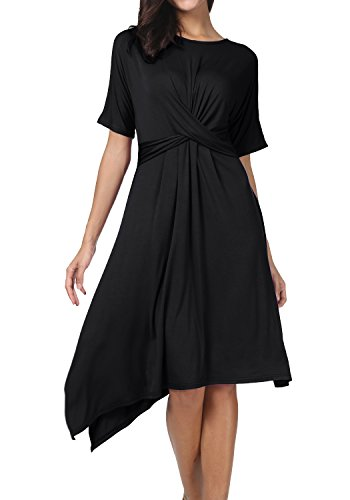 Levaca Womens Summer Short Sleeve Pleated Cross Swing Causal Midi Dress