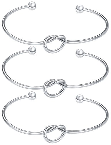 Christmas Gifts For Teen Girls Loop Bangle Bridesmaid Gifts Love Knot Bracelet Tie the Knot Cuff Bangle Adjustable Stretch Bracelet For Women Set of 3 Anniverasry Gifts For Her Bracelet For Women