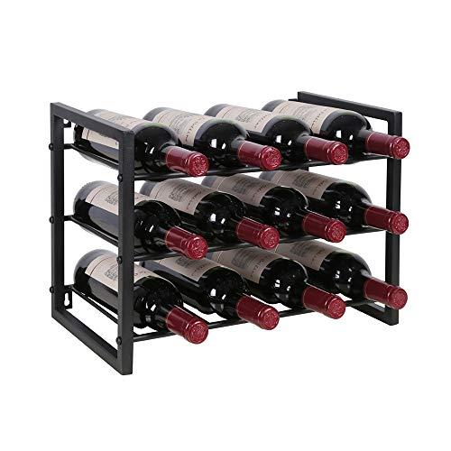OROPY 3 Tier Countertop Wine Rack, Free Standing Countertop Wine Storage Shelf, Hold 12 Bottles, Metal