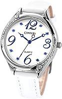 Comtex-Montre Femme Quartz Analogique-Cadran Blanc et Bleu-Bracelet en Cuir