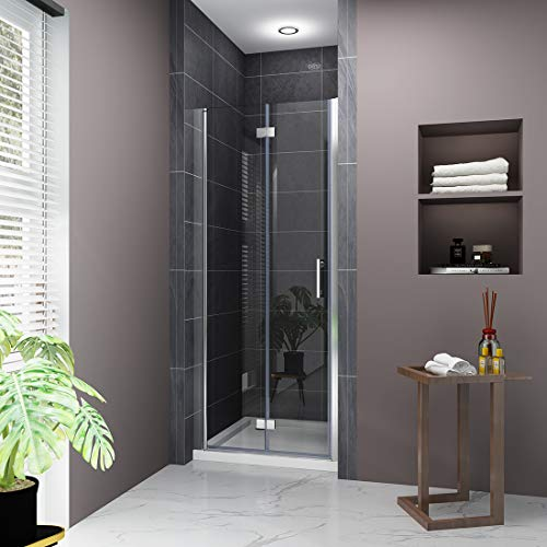 ELEGANT 32 W x 72 H Bi-Fold Hinged Frameless Shower Door, 3 16 Fold Clear Glass Shower Panel Pivot Swing Corner Shower Door, Chrome Finish