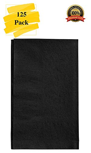 MM Foodservice 125 Count 2 Ply Paper Dinner Napkins perfect for Weddings, Parties, Dinners or Events (BLACK)