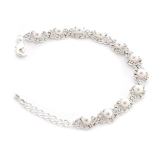 Topwholesalejewel Silver Crystal Rhinestone Teardrop Formation with White Pearl Iink Bracelet