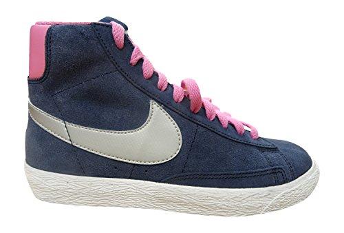 nike blazer mid vintage (GS) hi top trainers 539930 sneakers shoes (6 US BIG KID, obsidian metallic silver red volt 406)
