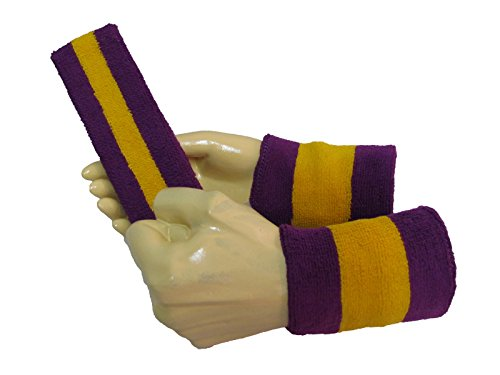 COUVER 2 Color Striped Terry Sports Headband Wristband Set, Golden Yellow/Purple