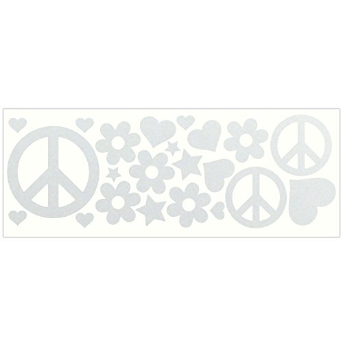 LiteMark Reflective White Hippy Sticker Decals for Helmets, Bicycles, Strollers, Wheelchairs and More