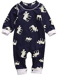 bebé Infant Baby Girl Boy de manga larga Romper Jumpsuit pijamas de ciervo Xmas Outfit