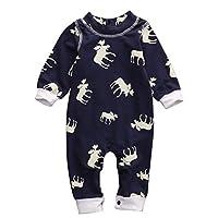 Toddler Infant Baby Girl Boy Long Sleeve Deer Romper Jumpsuit Pajamas XMAS Ou...