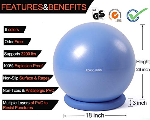 RGGD&RGGL Yoga Ball Chair, Exercise Balance Ball Chair 65cm with Inflatable Stability Ring, 2 Resistant Bands and Pump for Core Strength and Endurance (Upgrade Blue) by RGGD&RGGL (Image #2)
