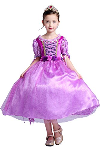 [YMING Girls Purple Princess Dress Halloween Christmas Rapunzel Costume 2-11 (110/Dress only, Long Hair Princess Long] (Original Toddler Halloween Costumes)