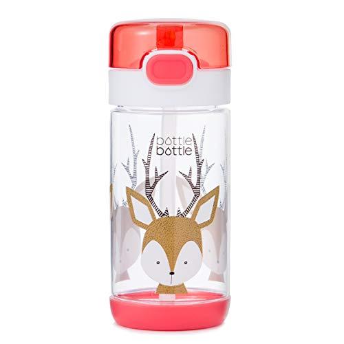 (bottlebottle 12oz Kids Water Bottle BPA Free Travel Mug with Flip Lid and Straw, Deer, Pink )