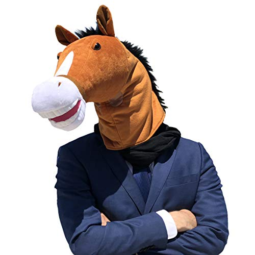 WALIKI Horse Head Mask | Luxury Edition | Serious Horse Men Costume Brown (Horse Head Hat)