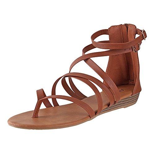 Tan Strappy Sandals - Bella Marie Women's Inca-4 Strappy Sandals Tan 8