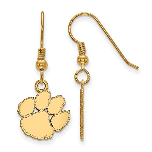 Sterling Silver w/ 14K Yellow Gold-Plated LogoArt Official Licensed Collegiate Clemson University (CU) Small Dangle Earrings by LogoArt