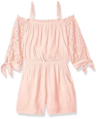 Amy Byer Girls' Big Off The Shoulder Romper, garden rose X-Large