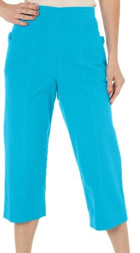 (Alfred Dunner Womens Isle of Capri Sheeting Capris 8 Turquoise)