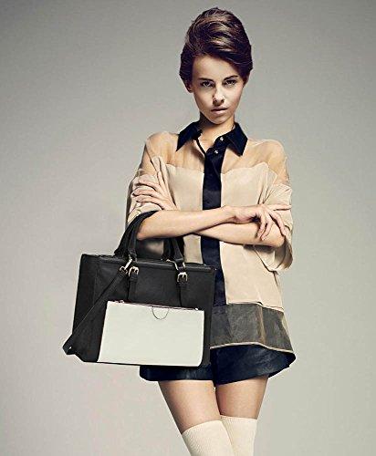 ANNA GRACE - Bolso de tela de piel sintética para mujer Design 1 - Black / White