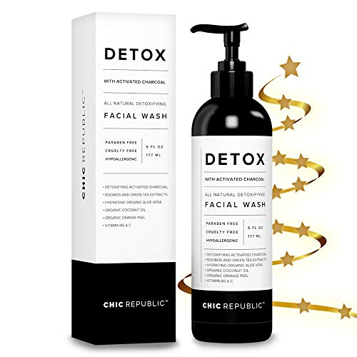 (All Natural Activated Charcoal Facial Cleanser - Organic Daily Acne Skincare Face Exfoliating for Smooth Skin, Pore Minimizing, Best Anti Aging Skin Rejuvenation with Aloe Vera Gel, Coconut Oil)