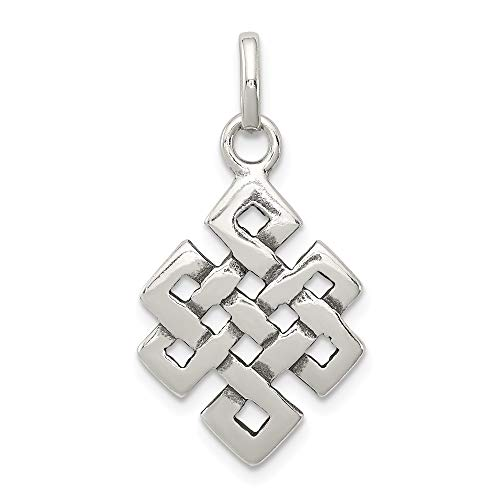 Solid 925 Sterling Silver Antiqued-Style Square Celtic Knot Pendant Charm (16mm x 27mm)