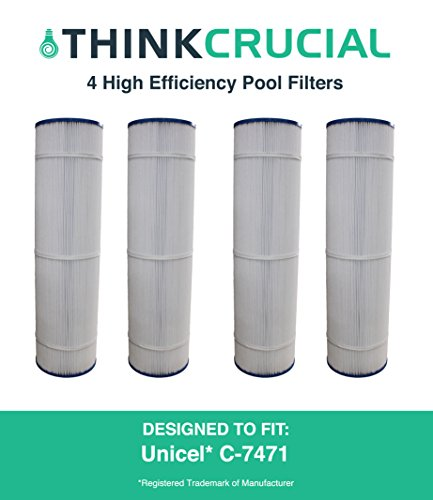 4 Replacements for Unicel Pool Filter Fits C-7471, Pleatco PCC105 & Filbur FC-1977, by Think Crucial by Think Crucial