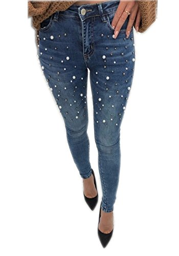 Tengfu Women's Classic High Waist Slimming Fit Stretch Pearl Jeggings Skinny Jeans Blue, US 8-10