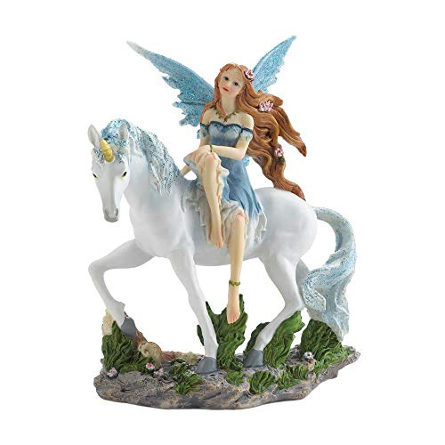 Anna's Attic Ice Blue Magical Fairy Riding Her White Unicorn Collectible Statue Figure Figurine ()