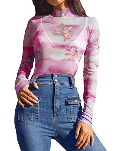 PALINDA Women's Turtleneck Angel Cupid Printed Bodysuits Long Sleeve Sexy Sheer Mesh Bodysuit Tops (S, Pink)