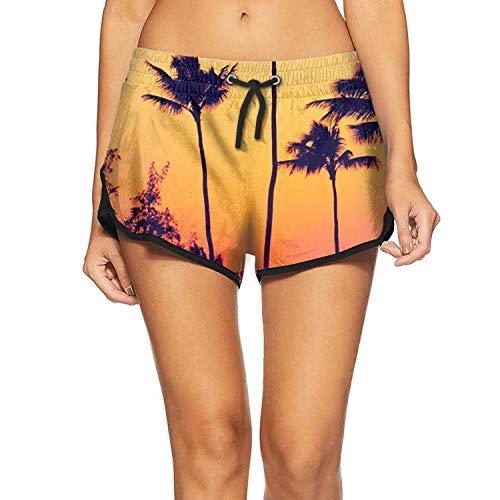 ZWEN Palm Tree Sunset Women's Novelty Beach Swim Trunk Waterproof Surfing Beachwear]()