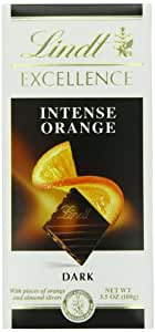 Lindt Excellence Intense Orange Dark Chocolate Bar, 3.5-Ounce Packages