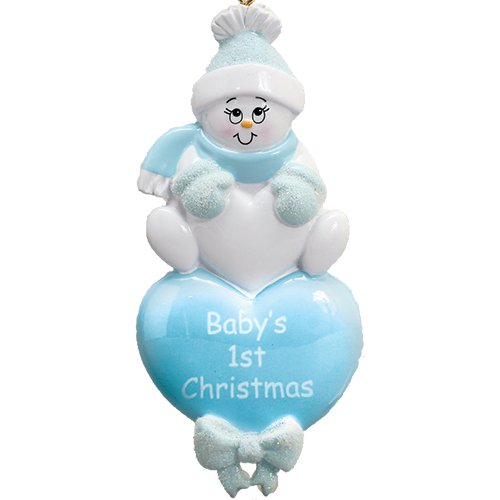 Personalized Baby's 1st Christmas Heart Tree Ornament 2019 - Little Cute White Snowman Blue Hat Glitter Mitten Boy's First New Mom Shower - Free Customization (Blue)