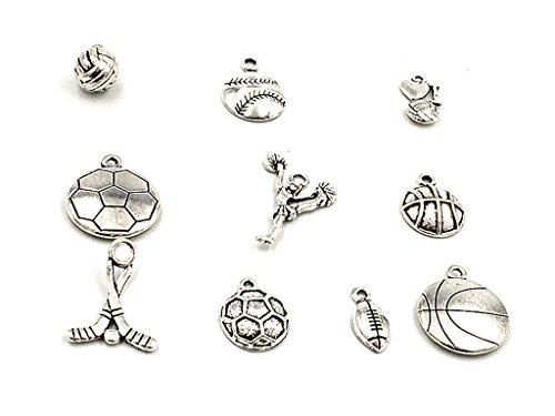 Kinteshun Alloy Ball Games Sports Charm Pendant for DIY Jewelry Making Accessaries(10pcs,Antique Silver Tone) (Baseball Charm Sport)