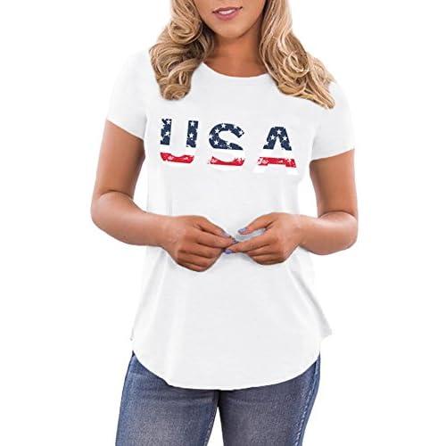 83f54639b56 free shipping Spadehill Women's July 4th American Flag USA Letter Print Tee  Shirts